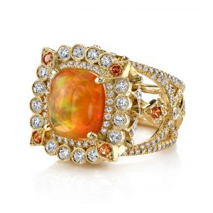 Fire Opal Empress Ring